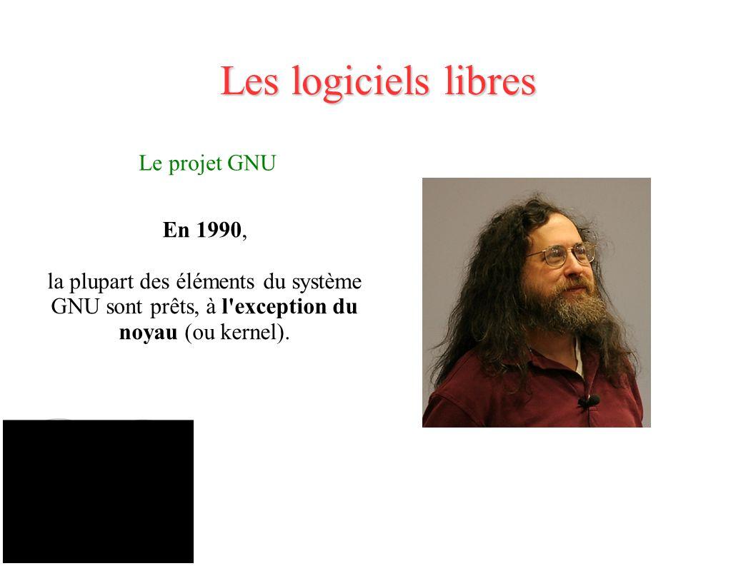 Les logiciels libres Le projet GNU En 1990,
