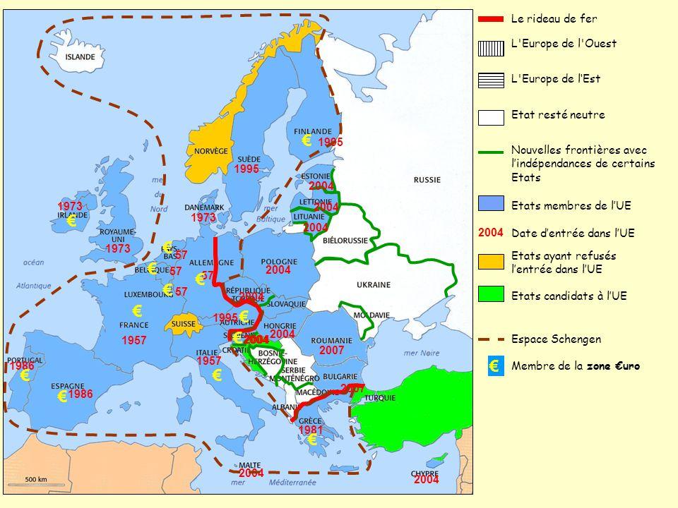 € € Le rideau de fer L Europe de l Ouest L Europe de l'Est