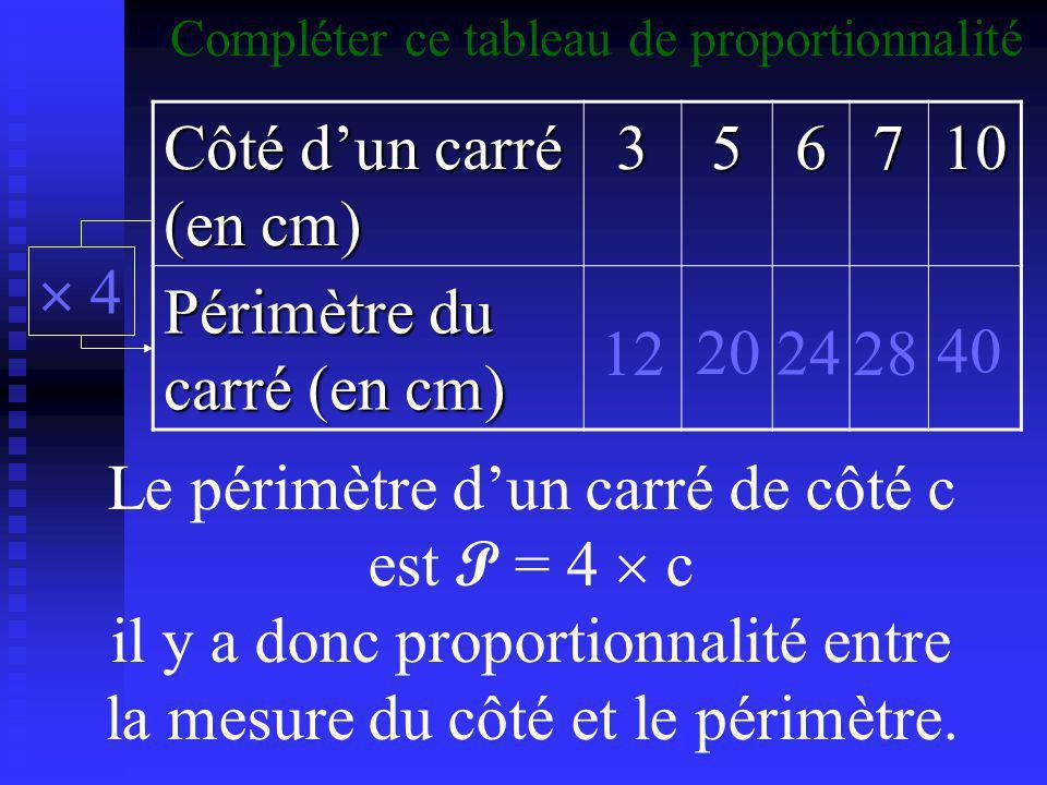 Périmètre du carré (en cm)