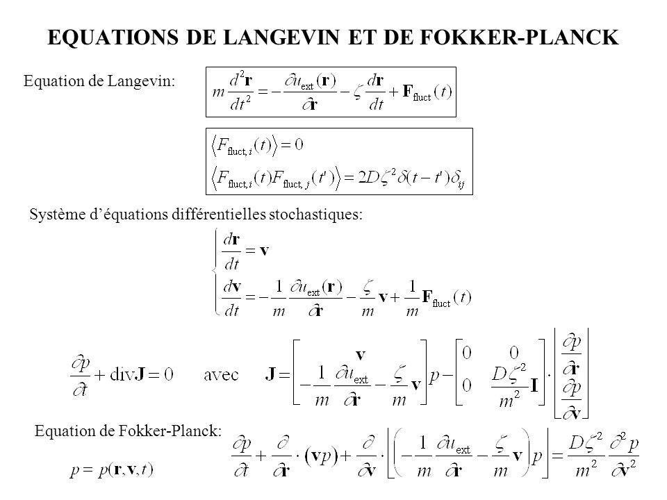 EQUATIONS DE LANGEVIN ET DE FOKKER-PLANCK