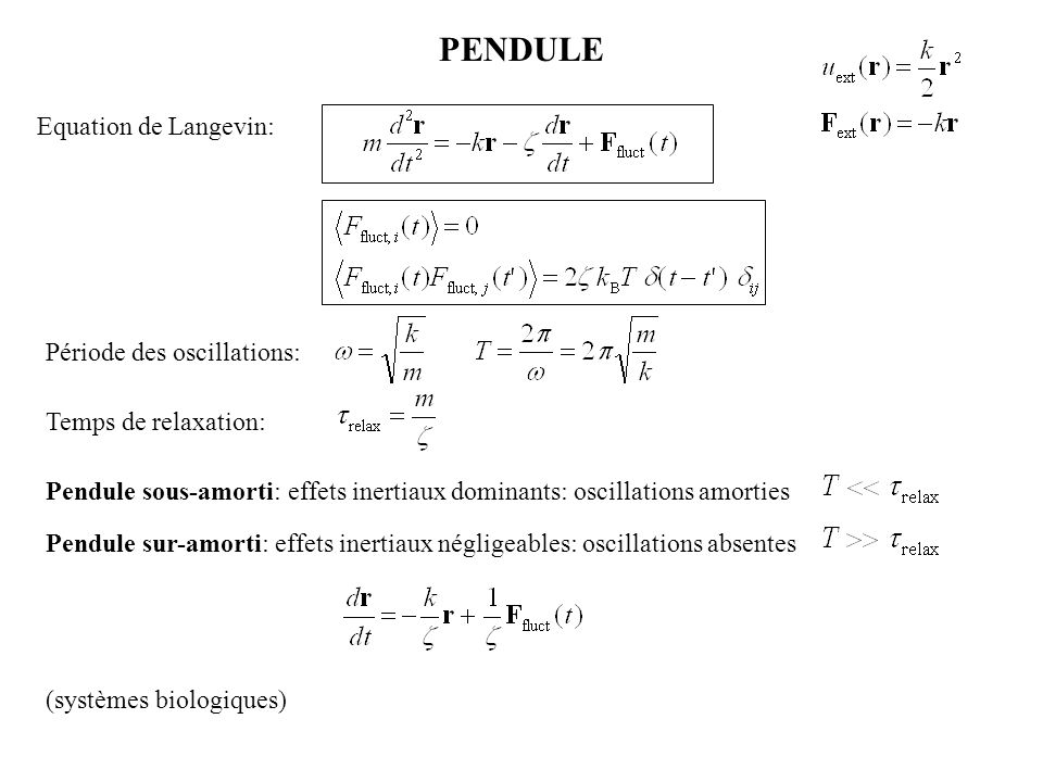 PENDULE Equation de Langevin: Période des oscillations: