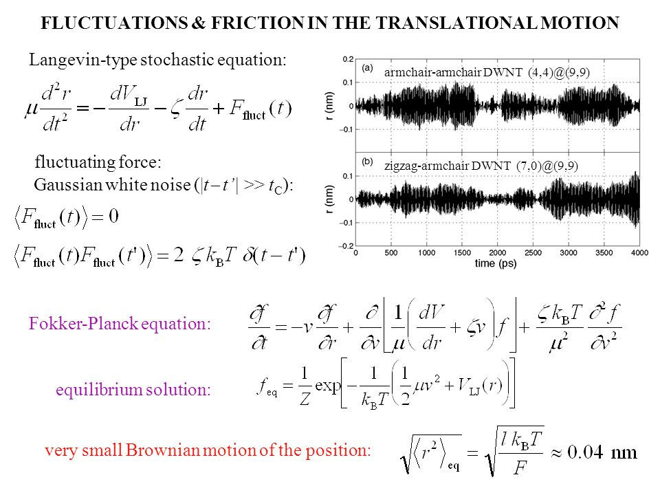 FLUCTUATIONS & FRICTION IN THE TRANSLATIONAL MOTION