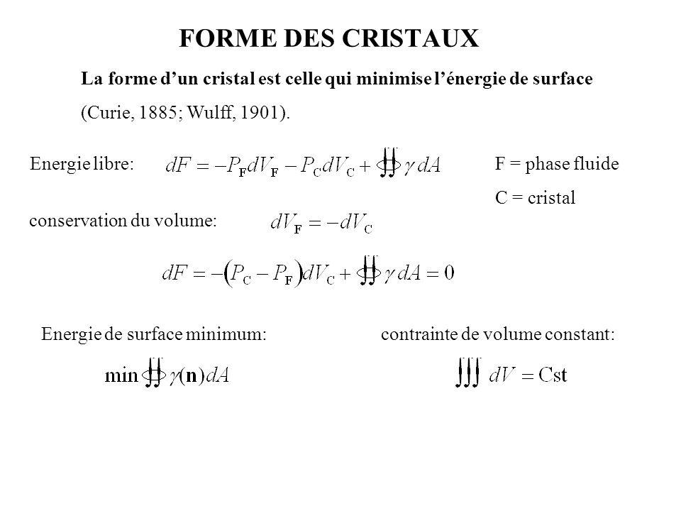 FORME DES CRISTAUX La forme d'un cristal est celle qui minimise l'énergie de surface. (Curie, 1885; Wulff, 1901).