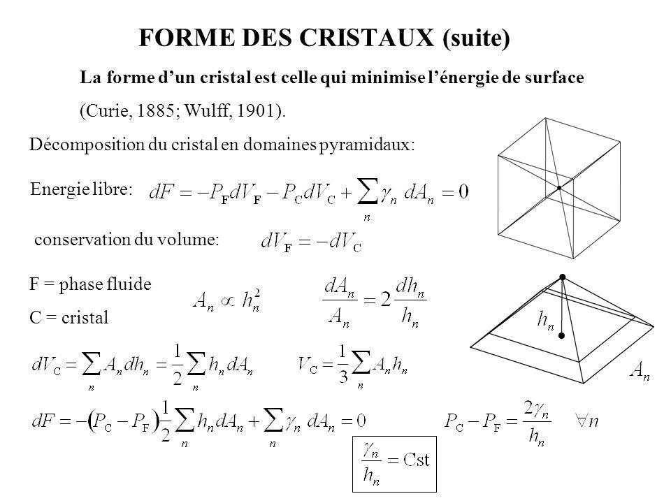 FORME DES CRISTAUX (suite)