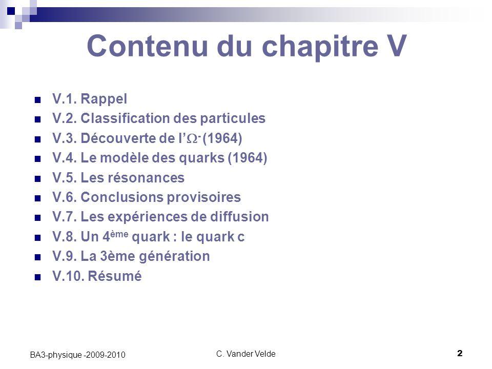 Contenu du chapitre V V.1. Rappel V.2. Classification des particules