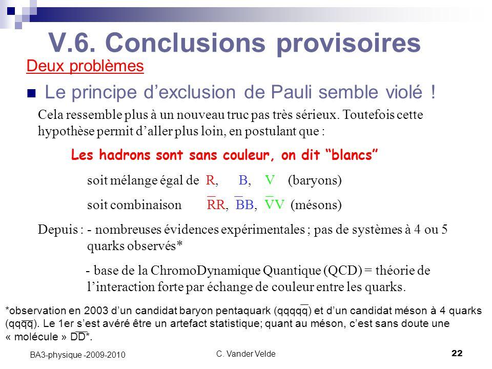 V.6. Conclusions provisoires