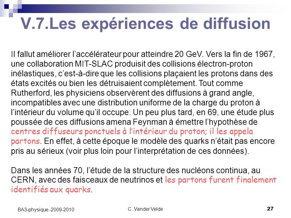 V.7.Les expériences de diffusion