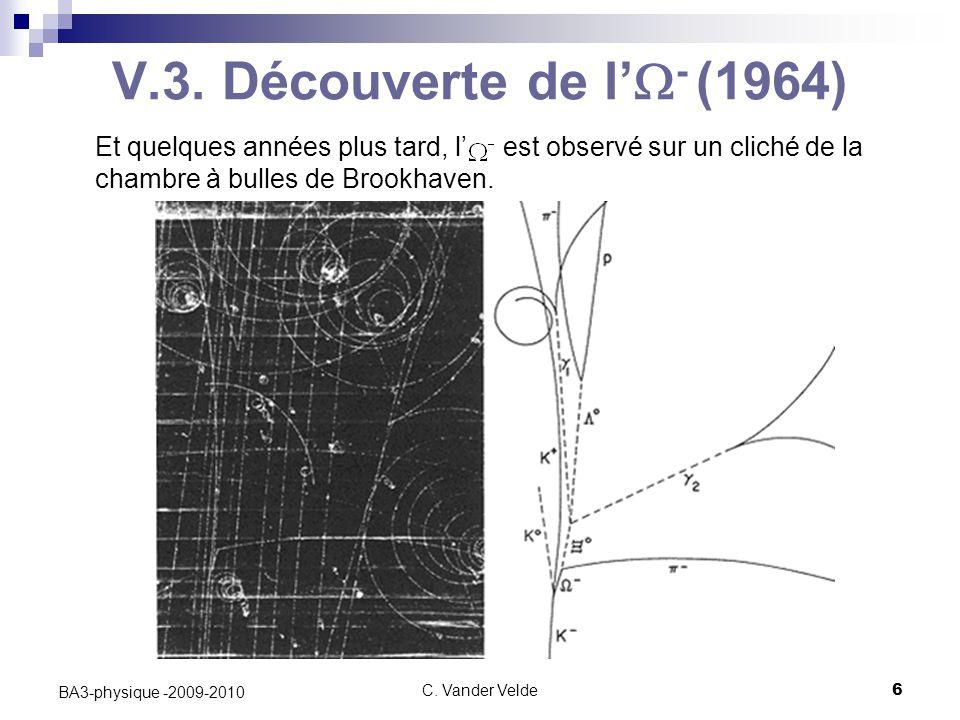 V.3. Découverte de l'W- (1964) Et quelques années plus tard, l' est observé sur un cliché de la chambre à bulles de Brookhaven.