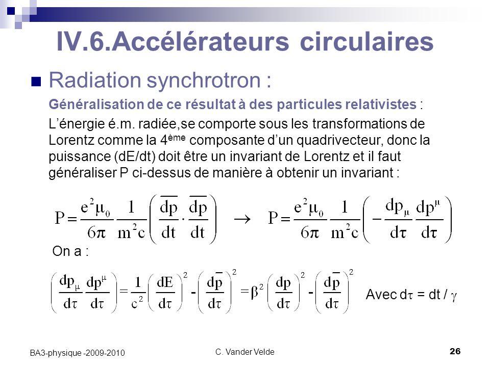 IV.6.Accélérateurs circulaires