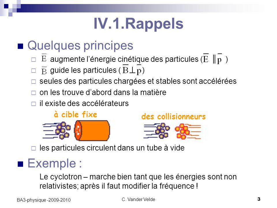 IV.1.Rappels Quelques principes Exemple :