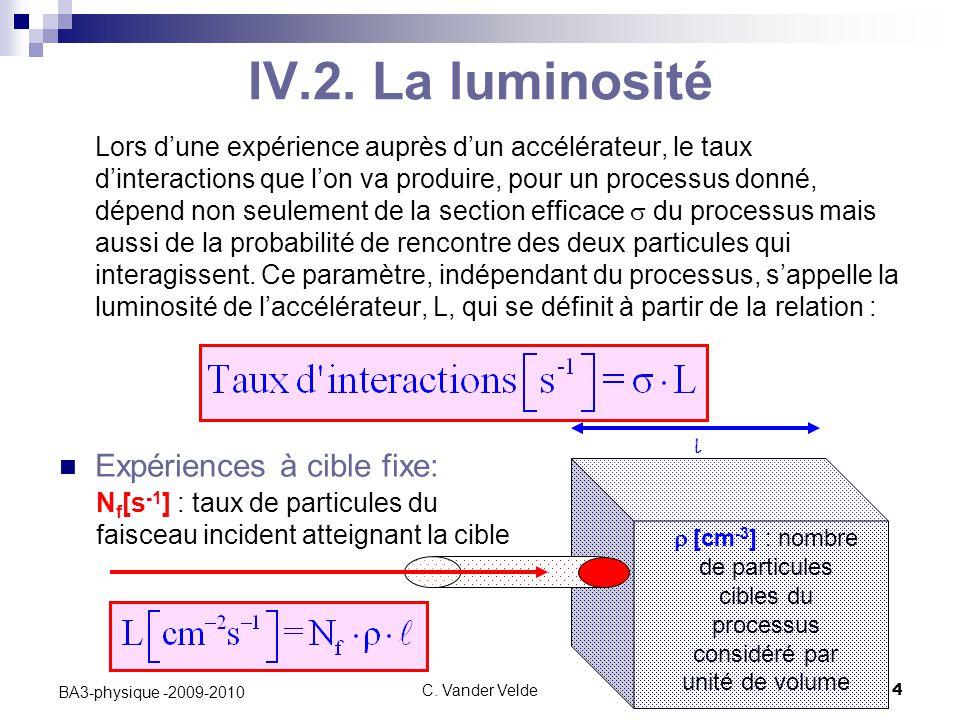 IV.2. La luminosité Expériences à cible fixe: