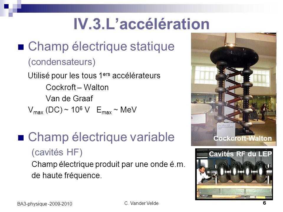 IV.3.L'accélération Champ électrique statique