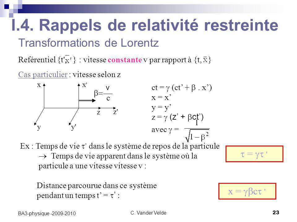 I.4. Rappels de relativité restreinte