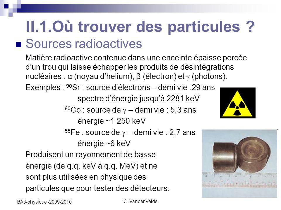 II.1.Où trouver des particules