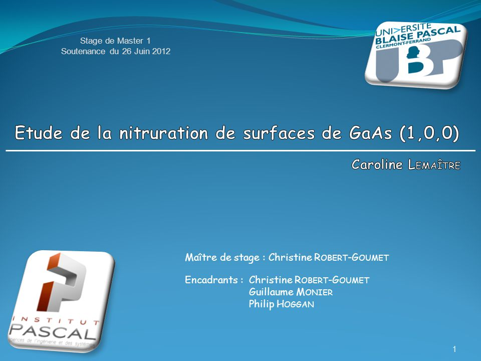 Etude de la nitruration de surfaces de GaAs (1,0,0)