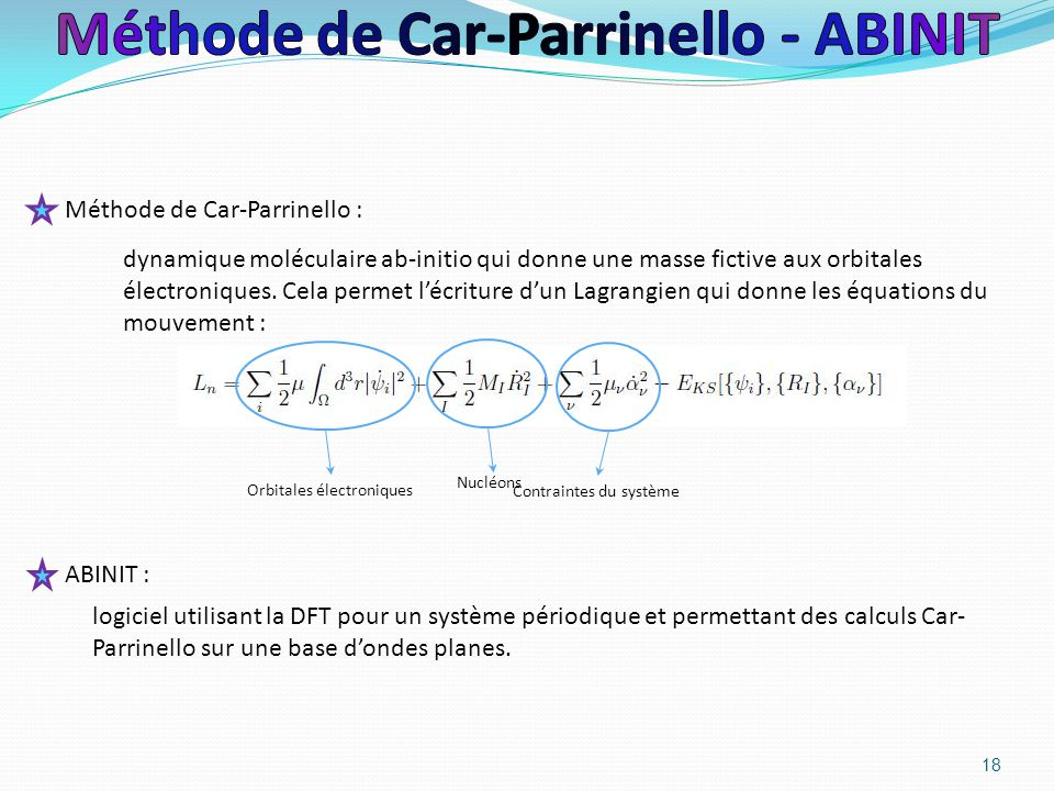 Méthode de Car-Parrinello - ABINIT