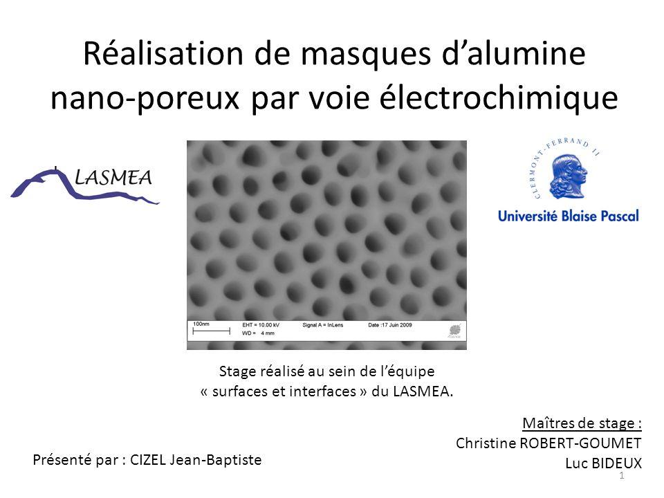 Réalisation de masques d'alumine nano-poreux par voie électrochimique