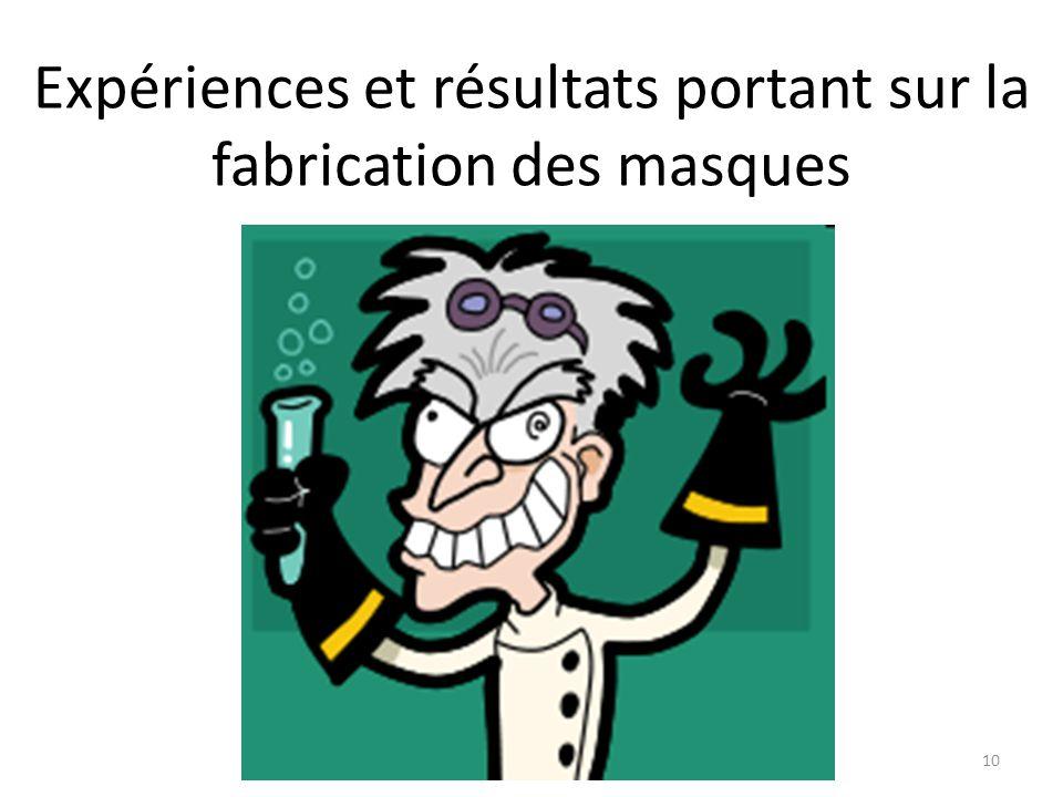 Expériences et résultats portant sur la fabrication des masques