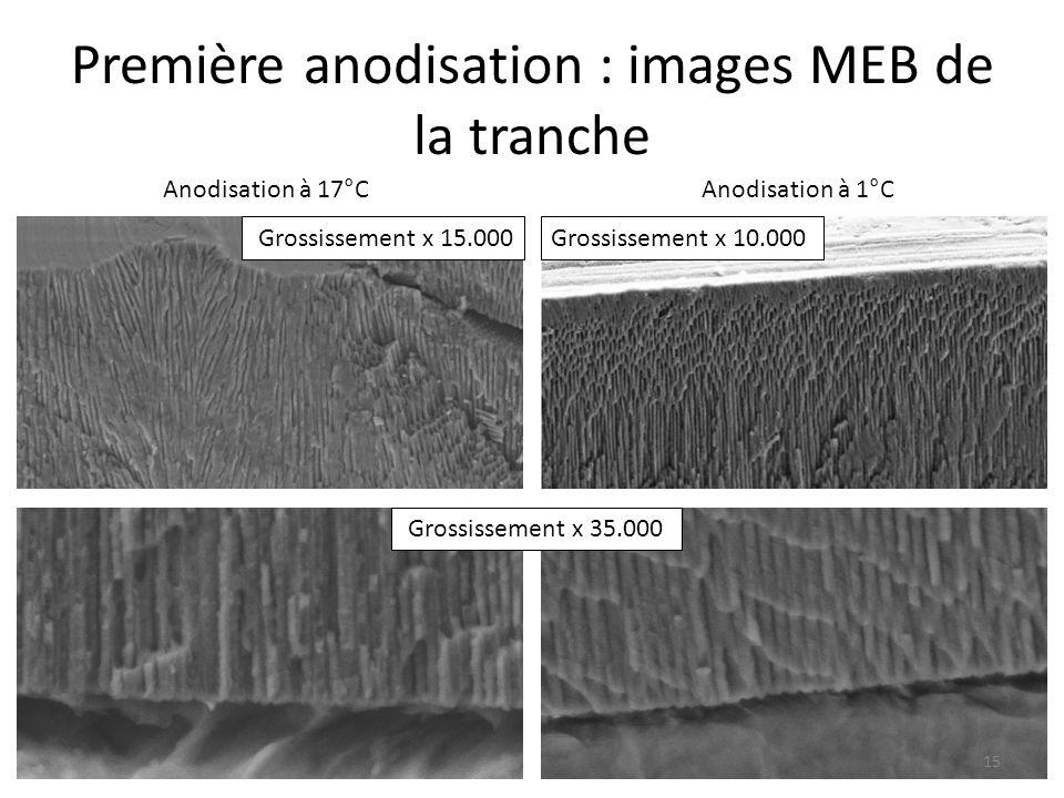 Première anodisation : images MEB de la tranche