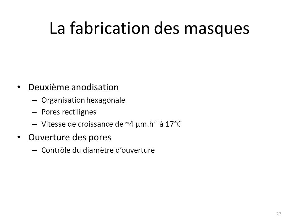 La fabrication des masques