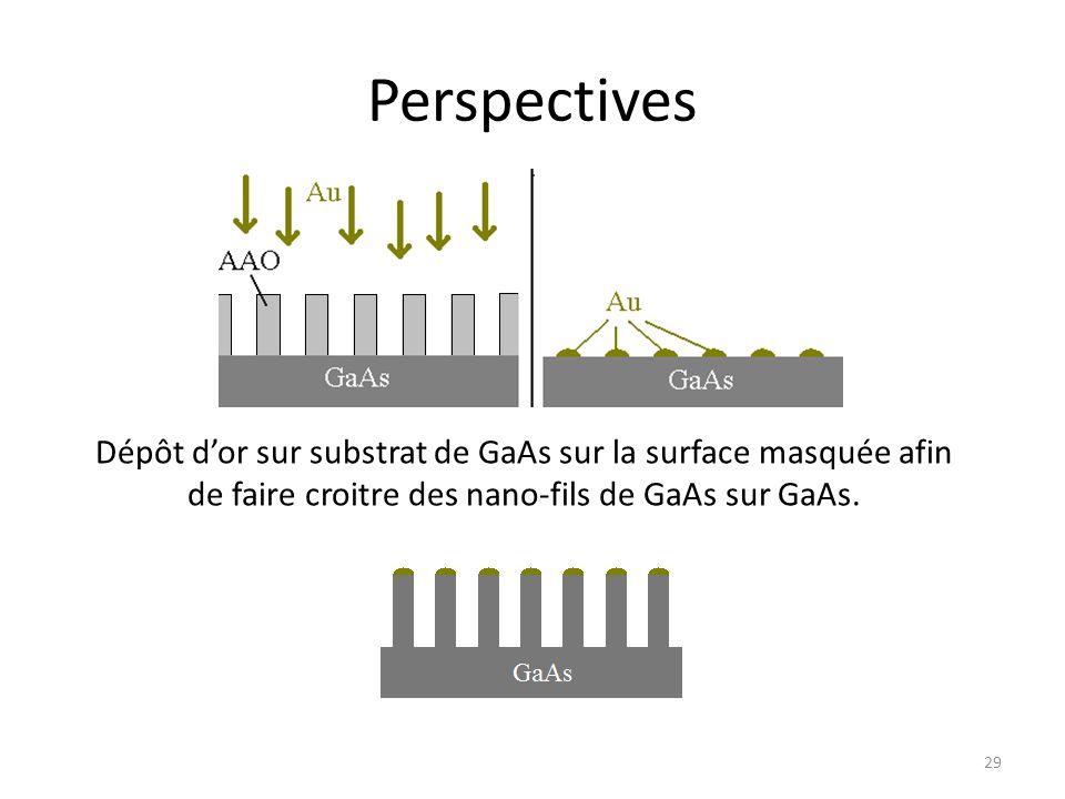 Perspectives Dépôt d'or sur substrat de GaAs sur la surface masquée afin de faire croitre des nano-fils de GaAs sur GaAs.