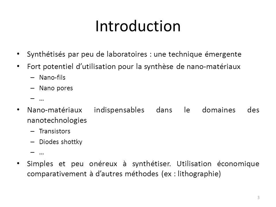 Introduction Synthétisés par peu de laboratoires : une technique émergente. Fort potentiel d'utilisation pour la synthèse de nano-matériaux.