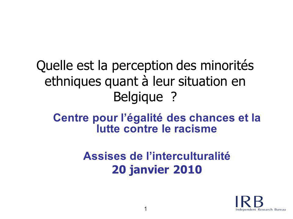Quelle est la perception des minorités ethniques quant à leur situation en Belgique