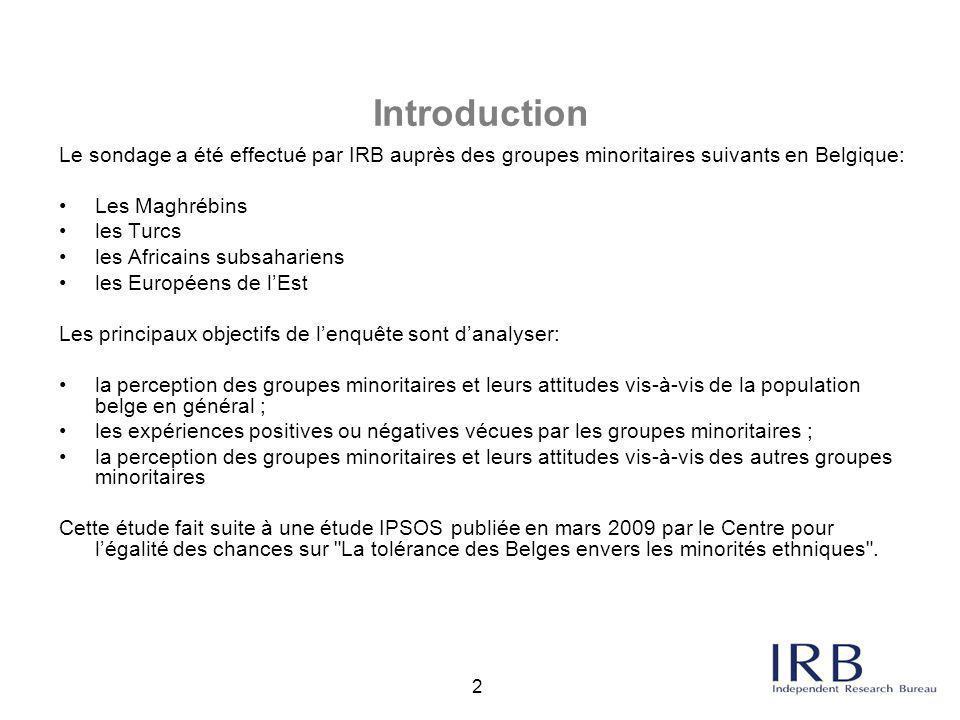 Introduction Le sondage a été effectué par IRB auprès des groupes minoritaires suivants en Belgique: