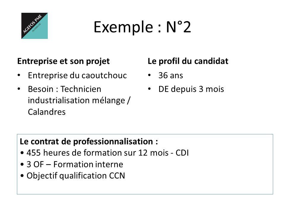 Exemple : N°2 Entreprise et son projet Le profil du candidat