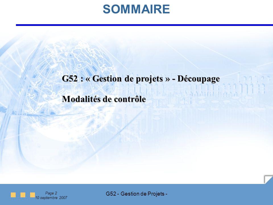 SOMMAIRE G52 : « Gestion de projets » - Découpage