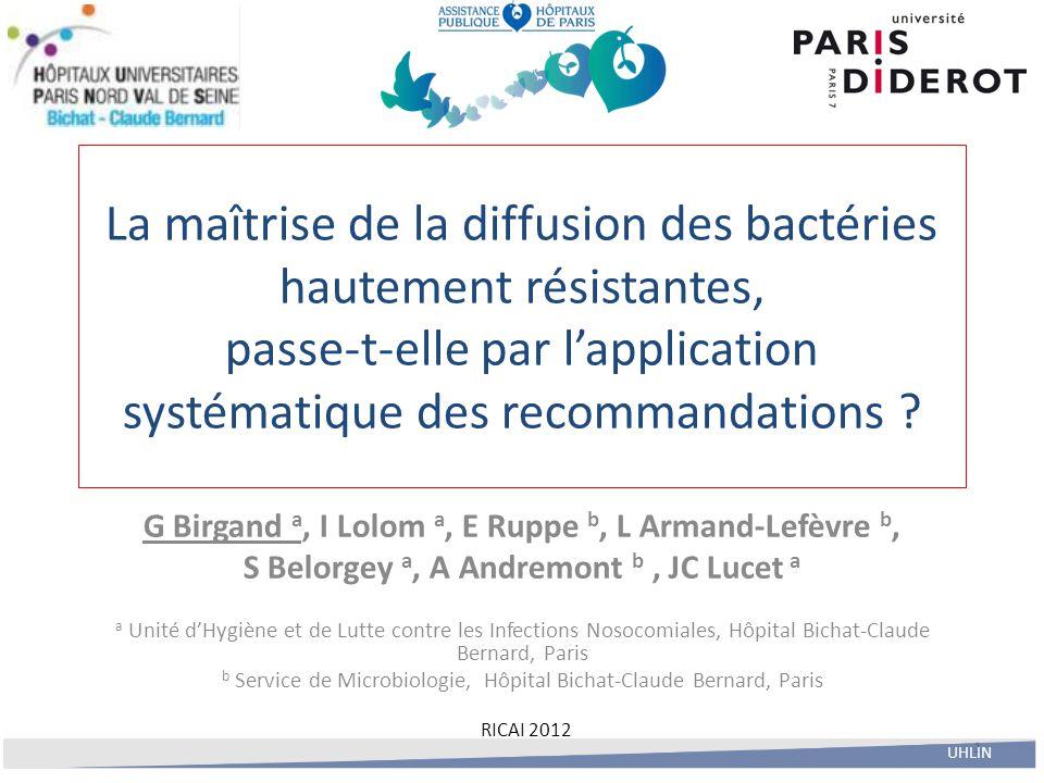 La maîtrise de la diffusion des bactéries hautement résistantes, passe-t-elle par l'application systématique des recommandations