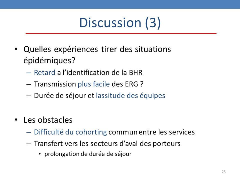 Discussion (3) Quelles expériences tirer des situations épidémiques
