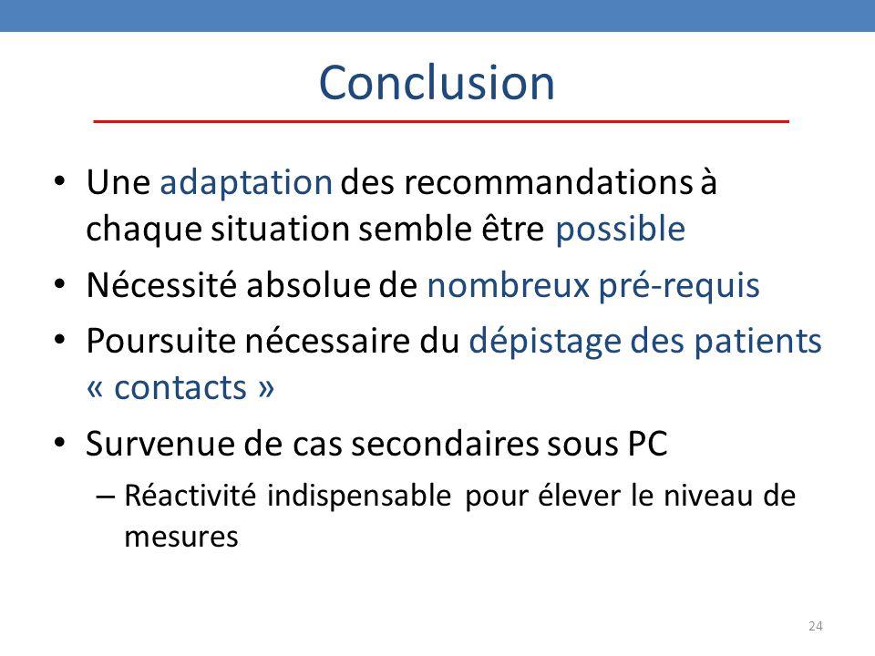 Conclusion Une adaptation des recommandations à chaque situation semble être possible. Nécessité absolue de nombreux pré-requis.