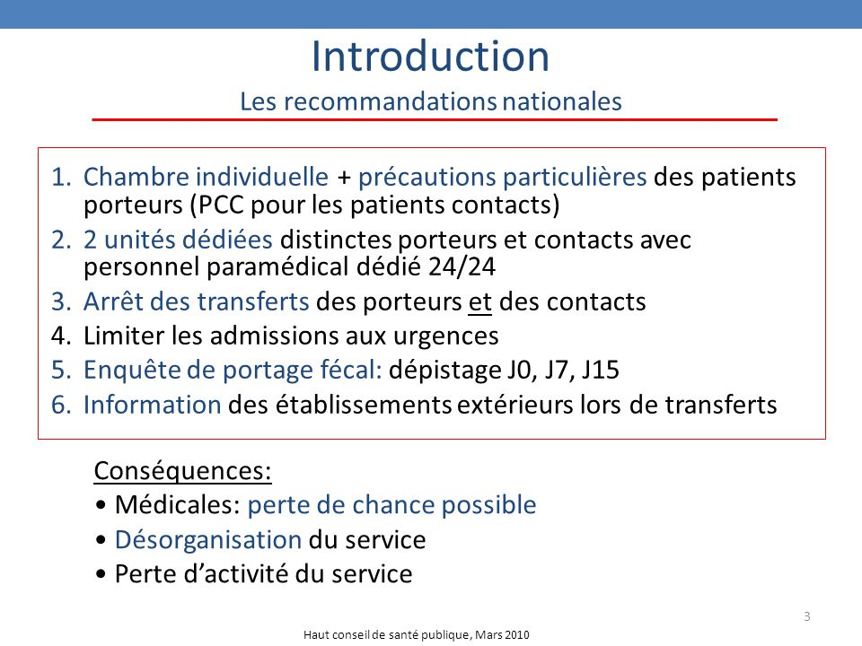 Introduction Les recommandations nationales