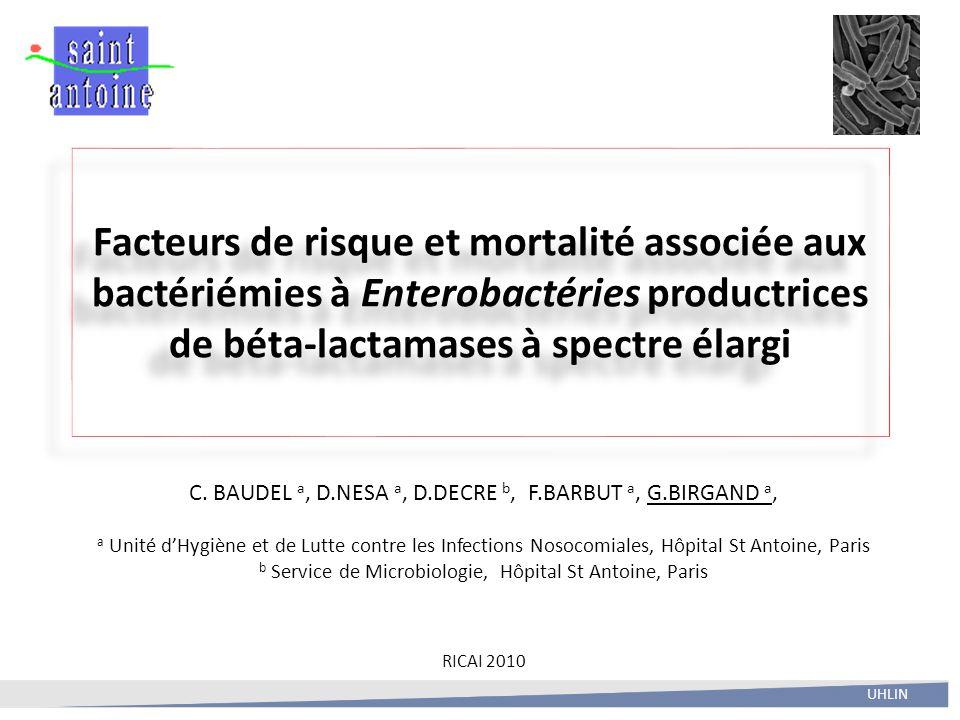 Facteurs de risque et mortalité associée aux bactériémies à Enterobactéries productrices de béta-lactamases à spectre élargi