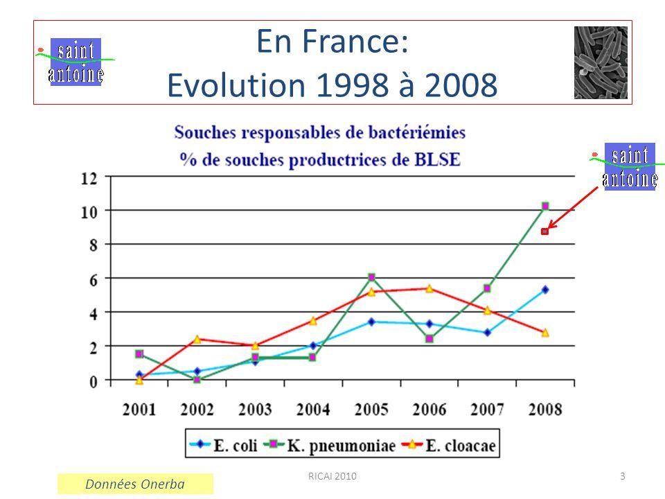 En France: Evolution 1998 à 2008 RICAI 2010 Données Onerba