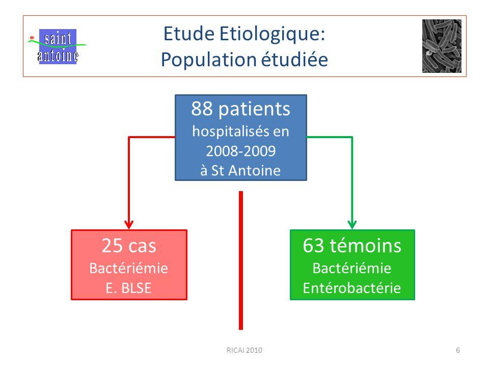 Etude Etiologique: Population étudiée