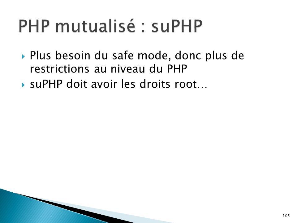 PHP mutualisé : suPHP Plus besoin du safe mode, donc plus de restrictions au niveau du PHP.
