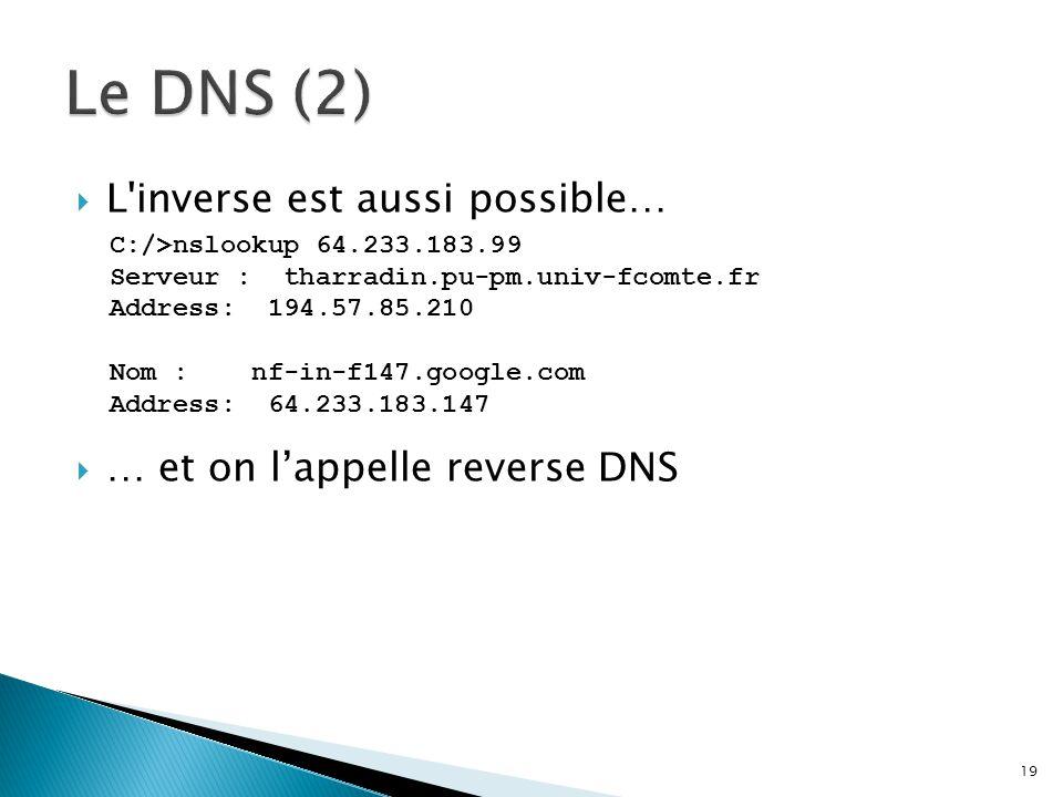 Le DNS (2) L inverse est aussi possible… … et on l'appelle reverse DNS