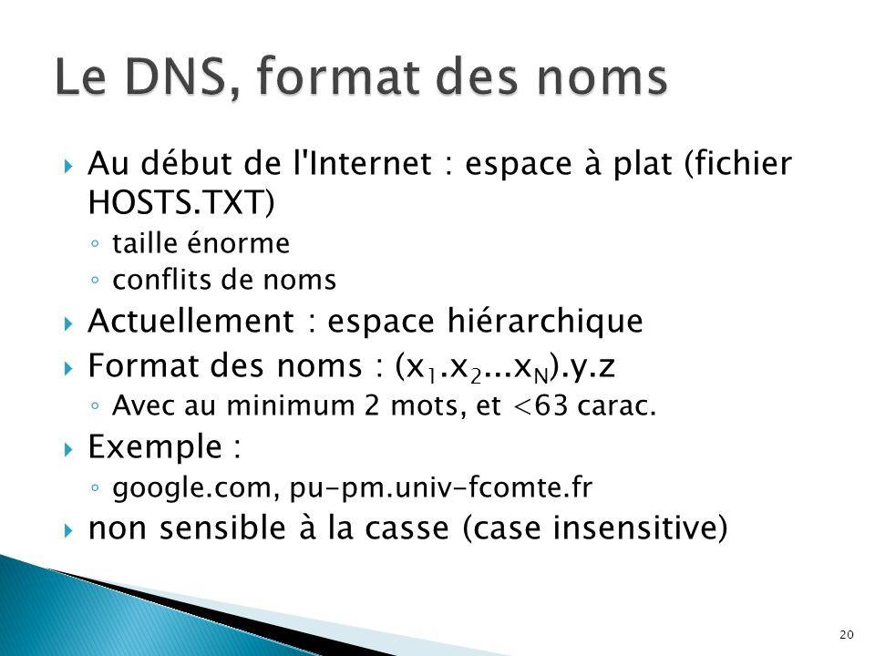 Le DNS, format des noms Au début de l Internet : espace à plat (fichier HOSTS.TXT) taille énorme.