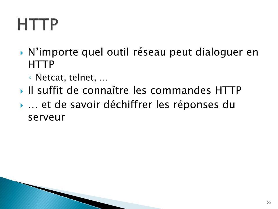 HTTP N'importe quel outil réseau peut dialoguer en HTTP