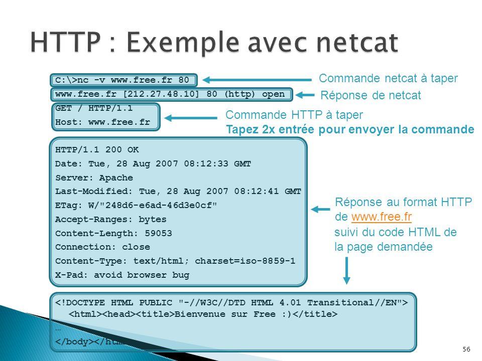 HTTP : Exemple avec netcat