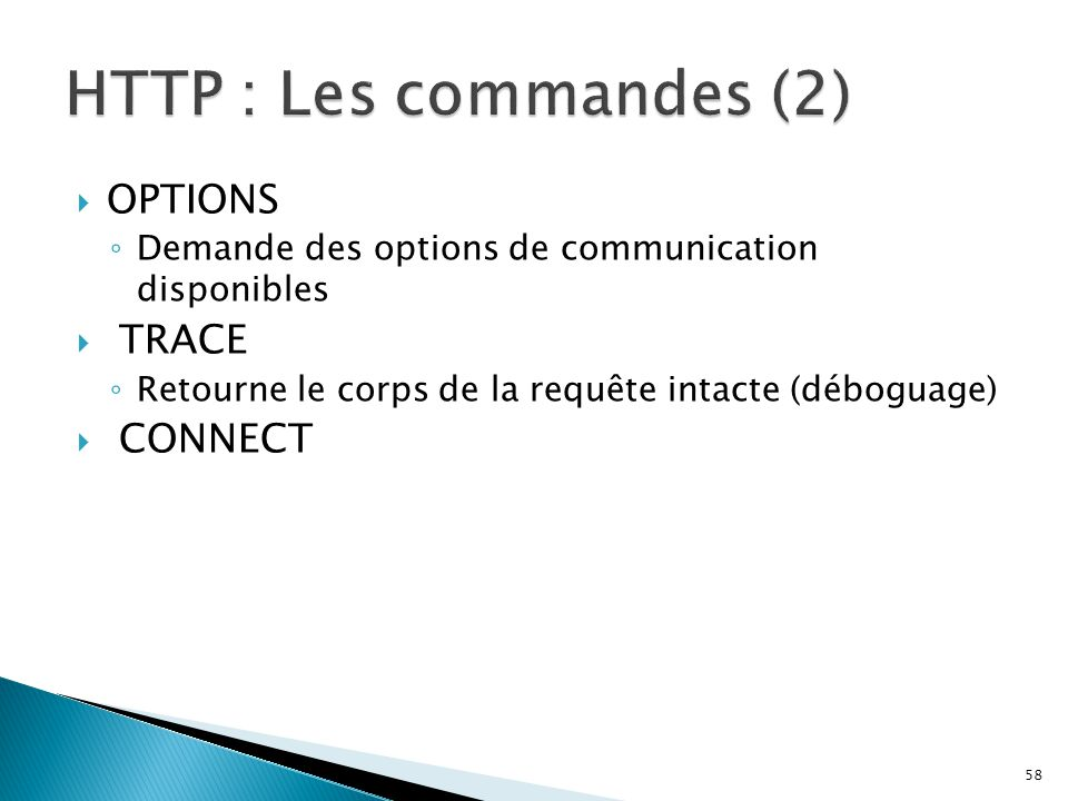 HTTP : Les commandes (2) OPTIONS TRACE CONNECT