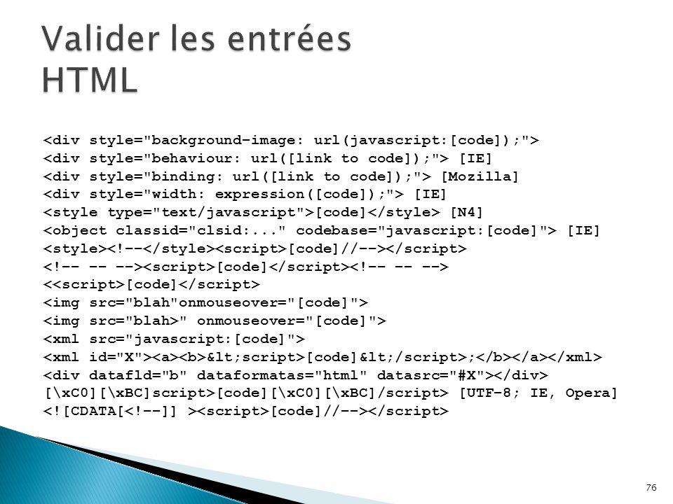 Valider les entrées HTML