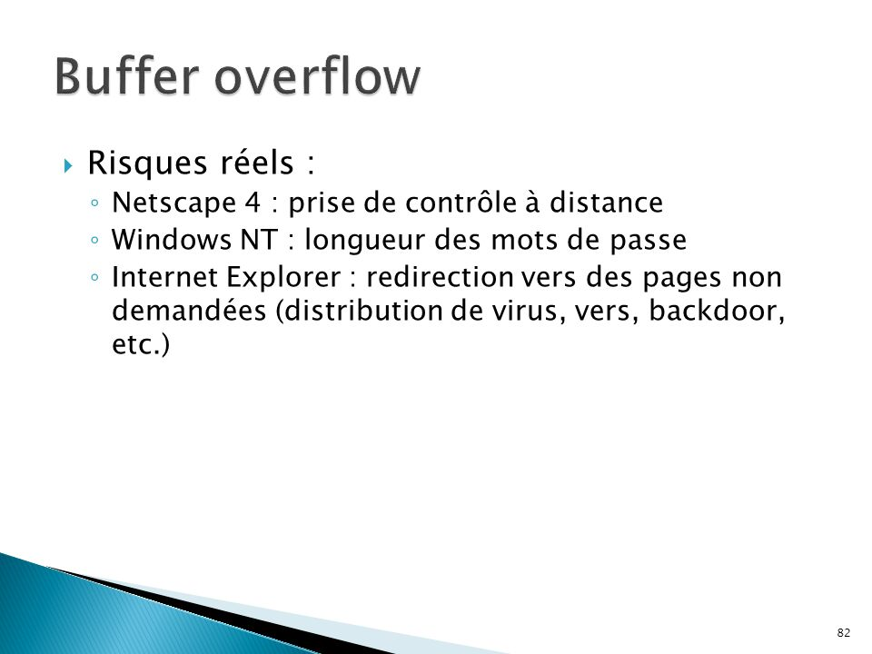 Buffer overflow Risques réels :
