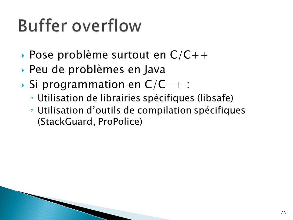Buffer overflow Pose problème surtout en C/C++