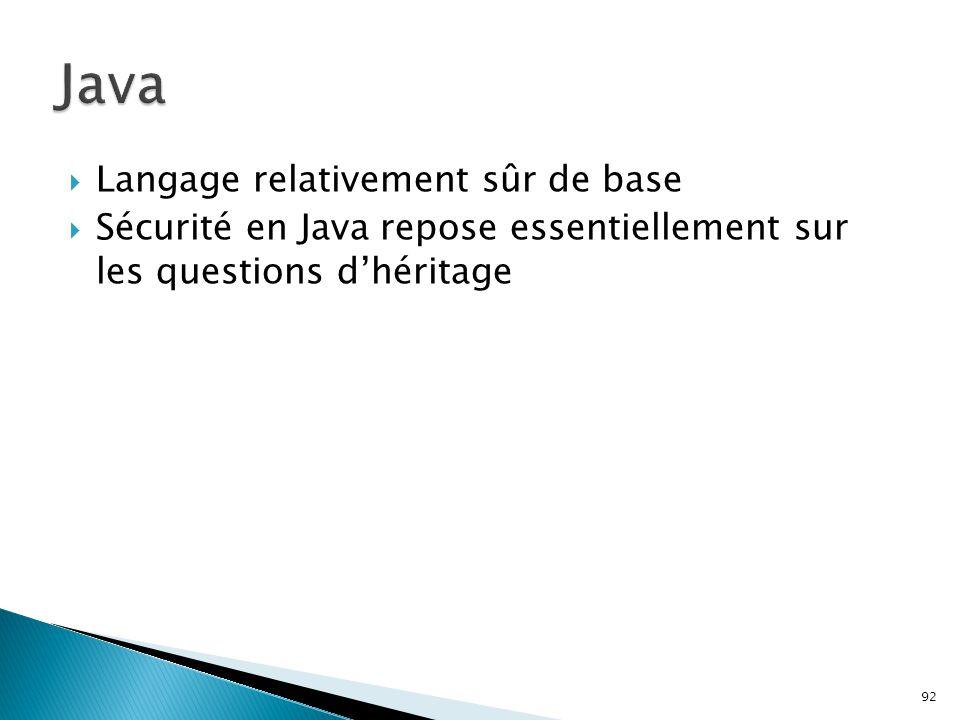 Java Langage relativement sûr de base