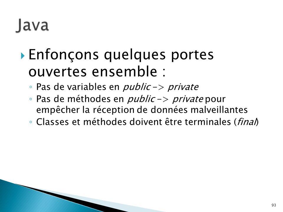 Java Enfonçons quelques portes ouvertes ensemble :