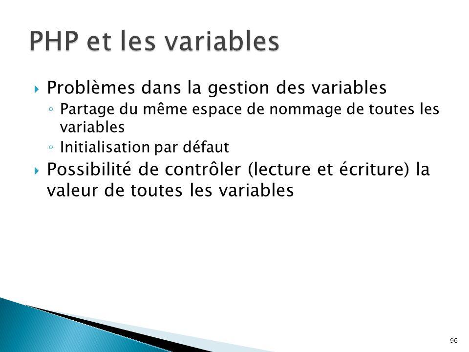 PHP et les variables Problèmes dans la gestion des variables