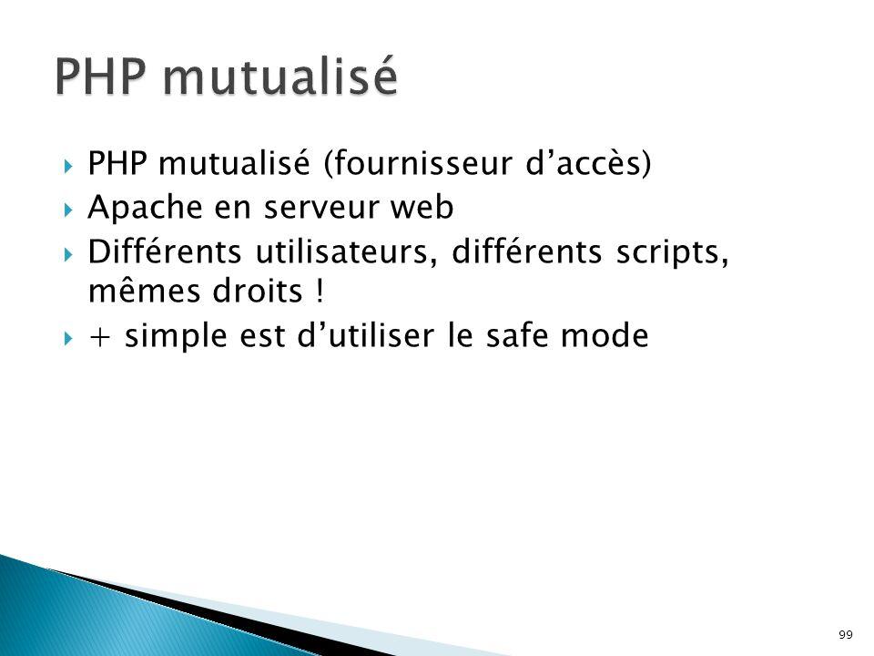 PHP mutualisé PHP mutualisé (fournisseur d'accès)